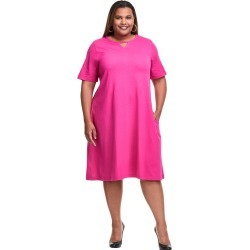 Just My Size Jersey Matchables Keyhole Dress with Pockets Magenta 1X Women's found on Bargain Bro from JustMySize for USD $22.80