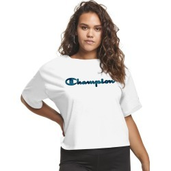 Champion Women's Athletics Plus Cropped Tee, Tie-Dye Logo White 2X found on Bargain Bro from JustMySize for USD $12.91