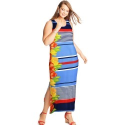 Just My Size JMS Striped Floral Maxi Dress Multi 4XL Women's found on Bargain Bro Philippines from JustMySize for $22.98