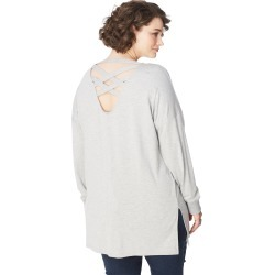 Just My Size JMS Criss Cross French Terry Tunic Grey Heather 3X Women's found on Bargain Bro India from JustMySize for $19.98