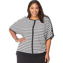 Just My Size JMS Zig Zag Dolman Sweater Grey/Black/Cream 1X Women's found on Bargain Bro Philippines from JustMySize for $19.98