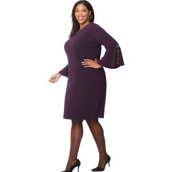 Just My Size JMS Bell Sleeve Dress w/Grommet Detail Dark Berry Purple 5X Women's found on Bargain Bro Philippines from JustMySize for $32.50