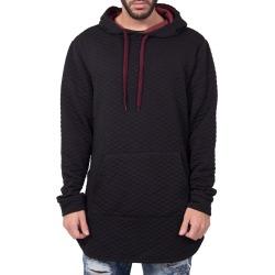 Quilted Zipper Hoodie in Black