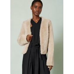 Statement Shearling Crop Jacket - Biscuit (L) found on Bargain Bro UK from me em