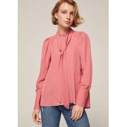 Silk Pussybow Dipped Hem Blouse + Tie - Rose (6) found on Bargain Bro UK from me em