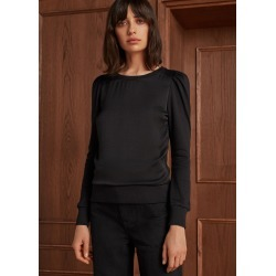 Pouf Sleeve Satin Front Sweatshirt - Black (6) found on Bargain Bro UK from me em