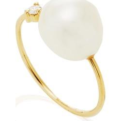 Mizuki Large Open Pearl & Diamond Ring