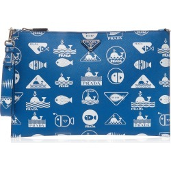 Prada Printed Textured-Leather Pouch found on Bargain Bro India from Moda Operandi for $895.00