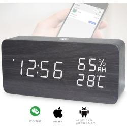 LED Digital Alarm Clock Rechargeable Woodgrain USB Android iOS Control APP - Black