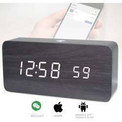 Rechargeable LED Digital Alarm Clock Woodgrain USB Android iOS Control APP - Black