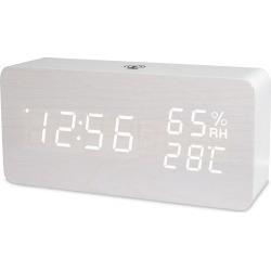 LED Digital Alarm Clock Rechargeable Woodgrain USB Android iOS Control APP - White