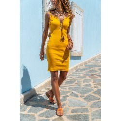 Mustard Woven Dress found on MODAPINS from MYSALE GROUP (OzSale) for USD $26.98