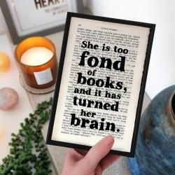 Book Lover 'Too Fond Of Books' Literary Print