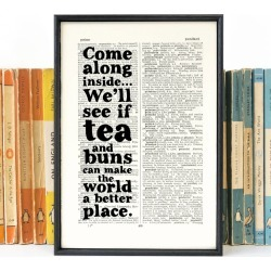 'Tea And Buns' Kitchen Art Quote Print
