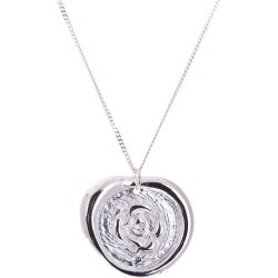Silver Rose Wax Seal Stamp Necklace
