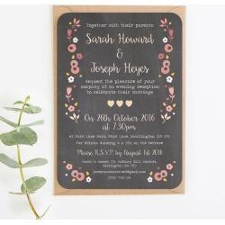 Berry Floral Chalkboard Evening Invitation