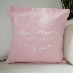 Personalised Embroidered Bow Cushion