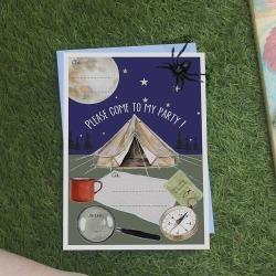 Naomi Stay Pack Of Ten Camping Trip Party Invitations