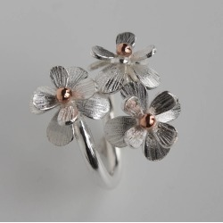 Silver And Rose Gold Daisy Flower Ring