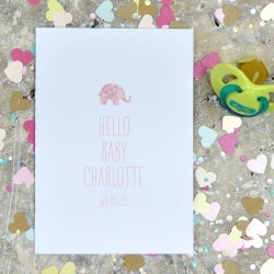 Pink and Turquoise Personalised New Baby Card With Elephant Detail