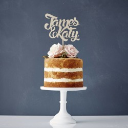 Personalised Couples Wooden Wedding Cake Topper