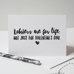 Lobsters Are For Life Valentine's Day Card