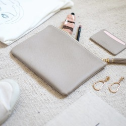 Taupe Pouch Clutch Bag