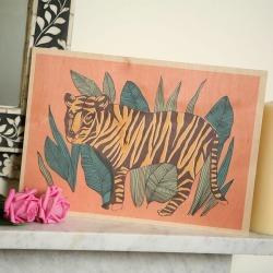 Tiger In Jungle Timbergram Wooden Art Print