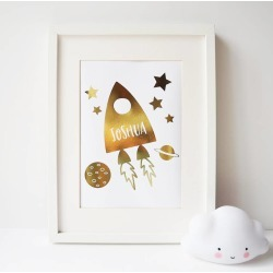 Personalised Gold Foil Rocket Print