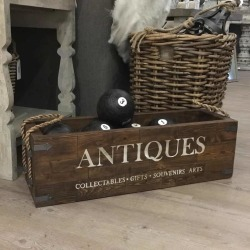 Antiques Crate With Six Wooden Boules And Rope Handles
