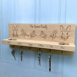 Personalised Rabbit Family Oak Key Holder