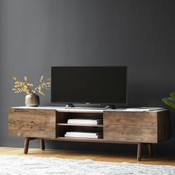Wood And Marble Media Cabinet found on Bargain Bro UK from Notonthehighstreet.com