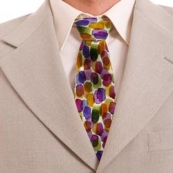 Silk Tie Hand Painted Brushstrokes Pattern