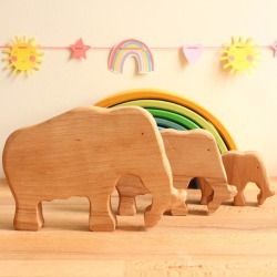 Wooden Toy Family Of Mammoths