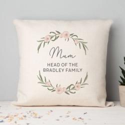 Mum Floral Personalised Cushion