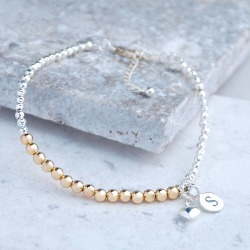 Silver And Gold Bead Bracelet