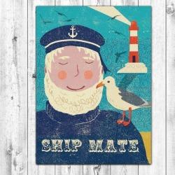 Retro Fisherman Greetings Card