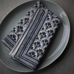 Blue And White Block Print Napkin