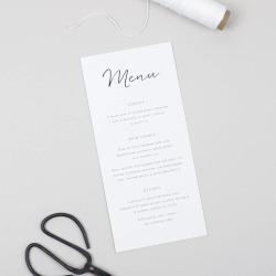 Minimalist Wedding Menu Card