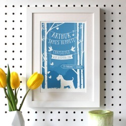 Personalised Christening/Baptism Print With Dog