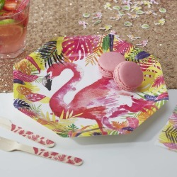 Tropical Flamingo Paper Party Plates found on Bargain Bro UK from Notonthehighstreet.com