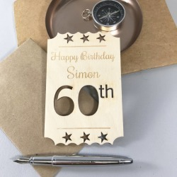 Personalised 60th Birthday Wooden Card