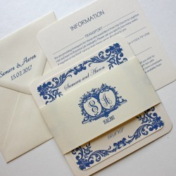 French Blue Traditional Wedding Invitation
