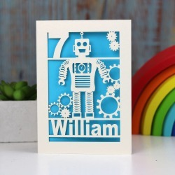 Personalised Papercut Robot Birthday Card