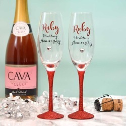Ruby Wedding Anniversary Personalised Champagne Flutes found on Bargain Bro UK from Notonthehighstreet.com