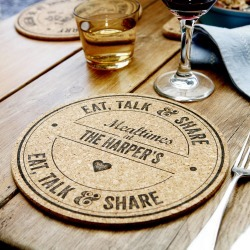 Set Of Four Personalised Family Cork Placemats