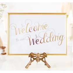 Welcome Gold Foil Personalised Wedding Sign