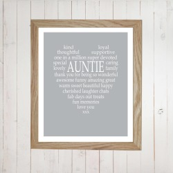 Personalised Aunty / Auntie / Uncle Print