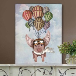 Pig And Balloons, Art Print