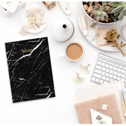 Black Marble Gold Foil A6 Notebook